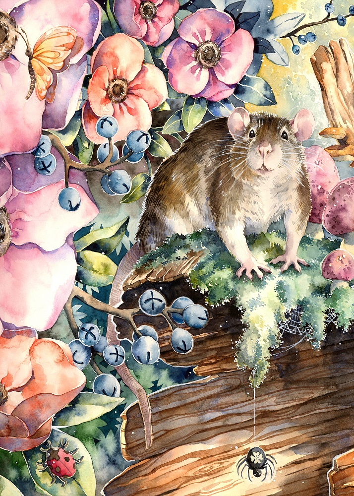 Print - Rat with Flowers