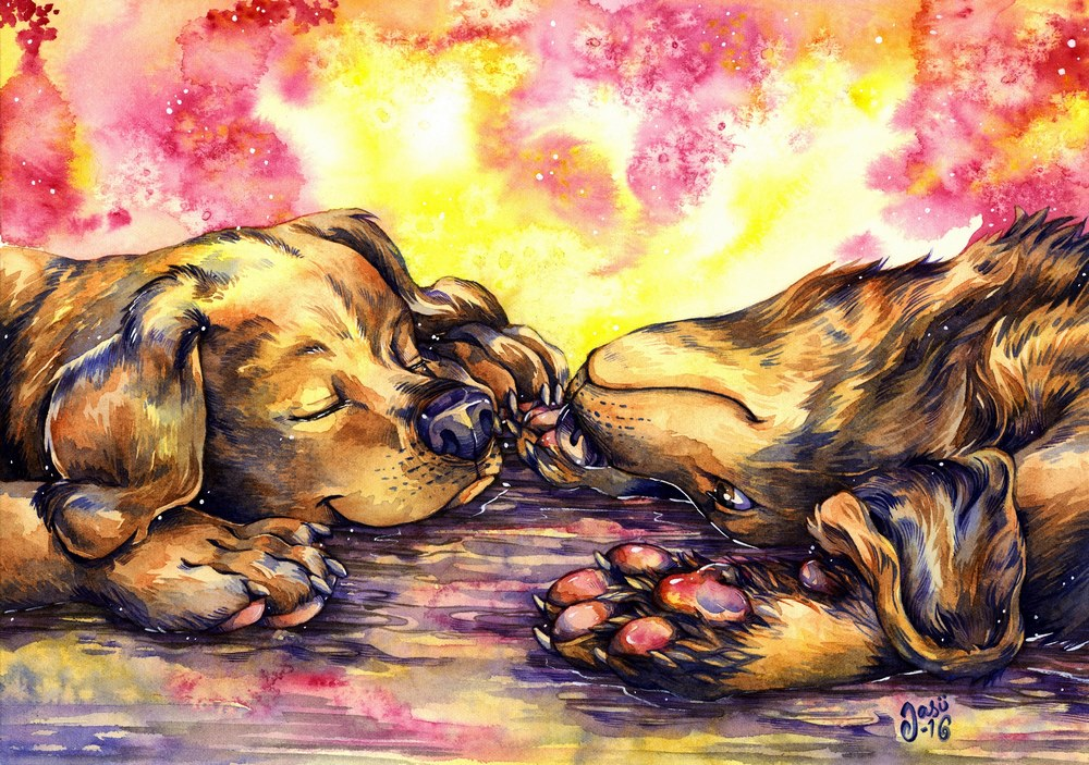 Original Painting - Puppy Siblings