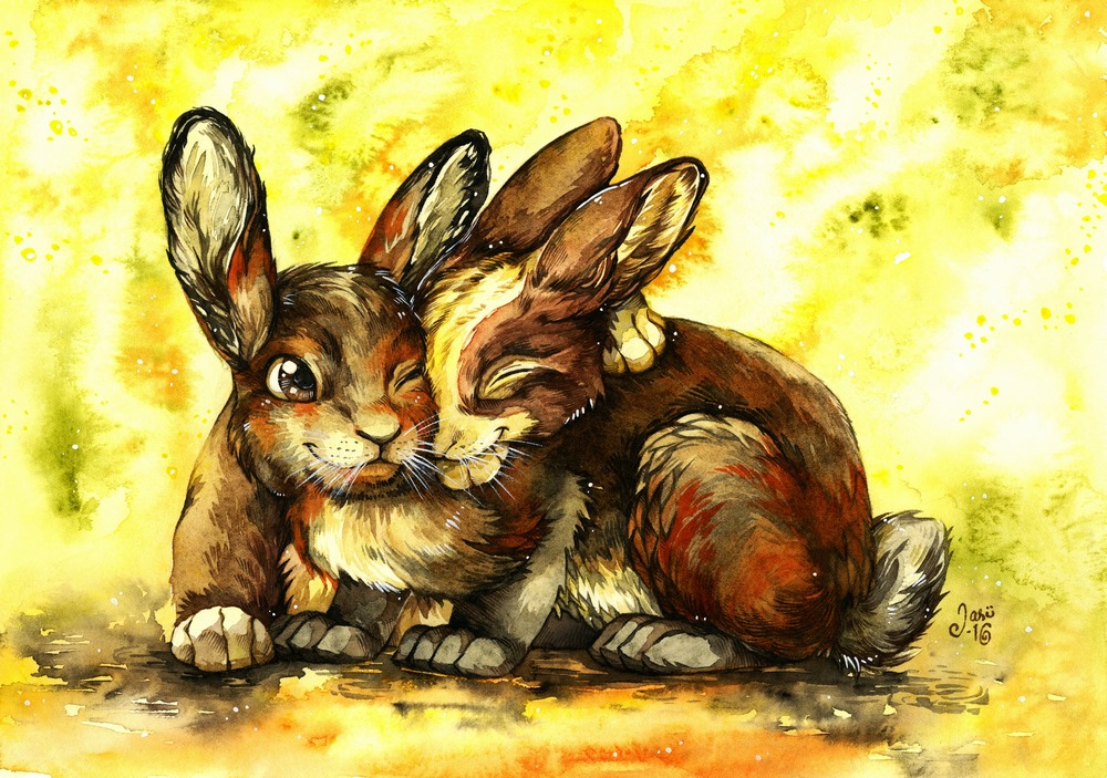 Original Painting - Bunny Friends
