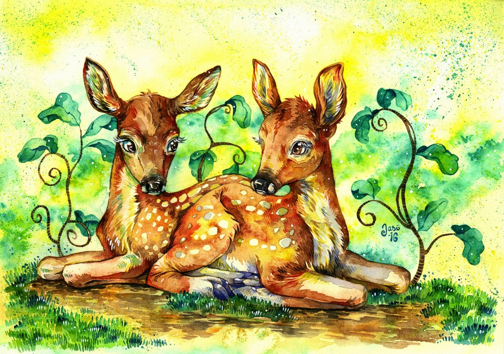 Original Painting - Fawns