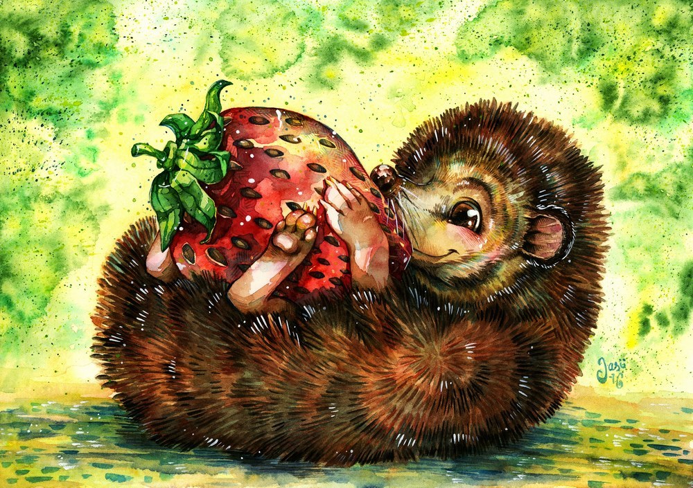 Original Painting - Hedgehog and a Giant Strawberry
