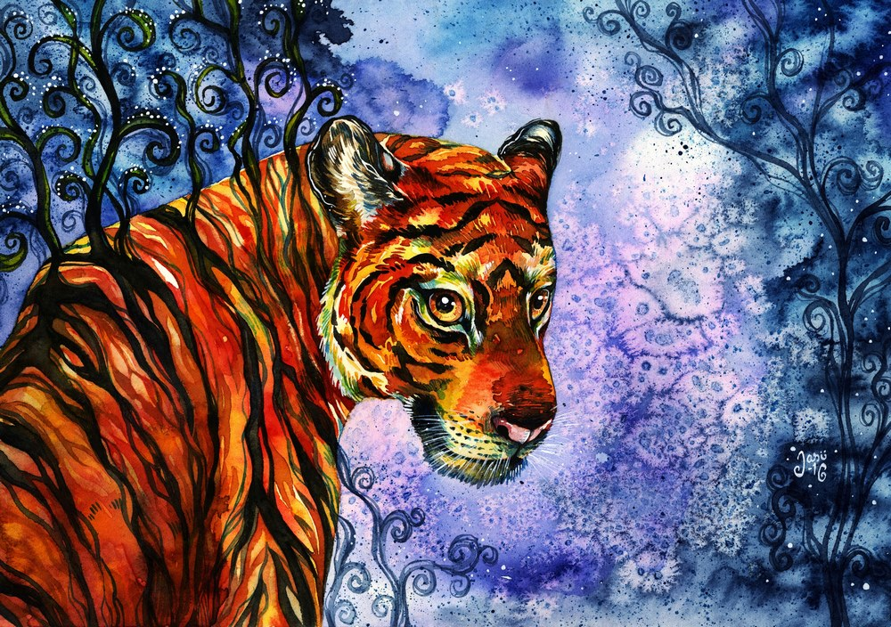 Original Painting - The Look of a Tiger