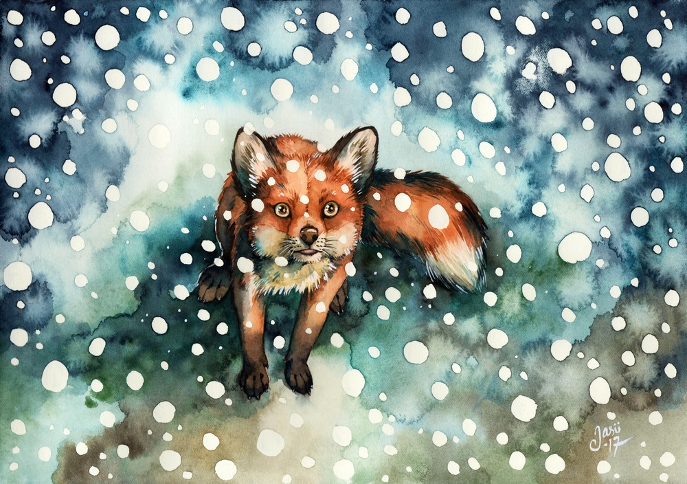 Original Painting - Fox in Snowfall