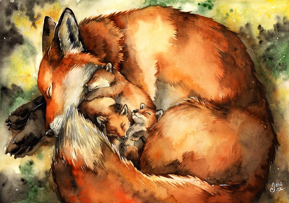 Print - Mother Fox with Pups