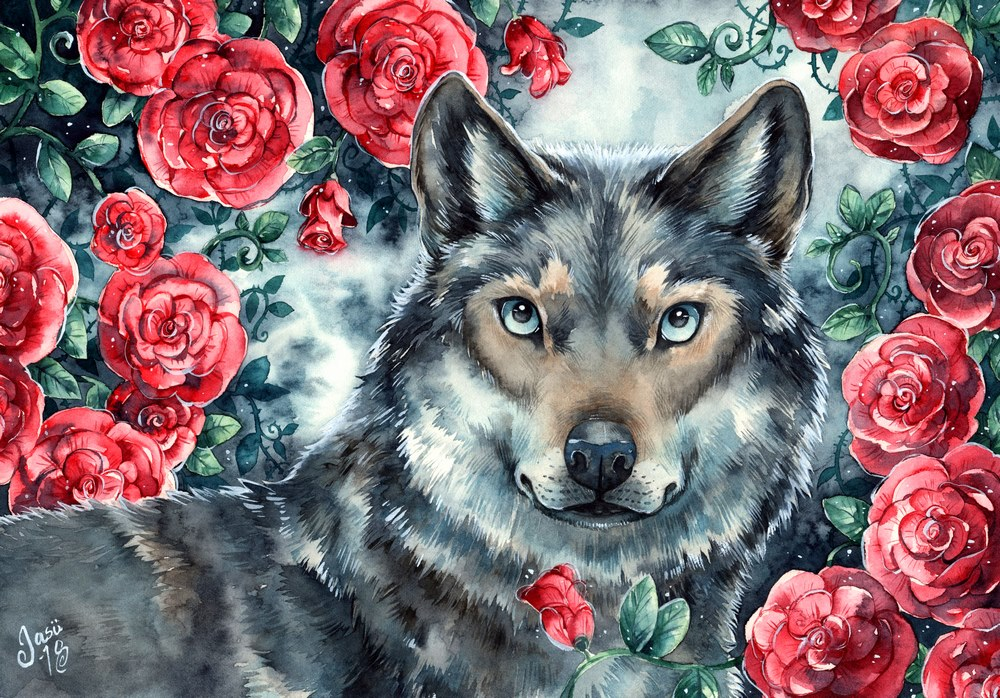 Original Painting - Rosy Wolf