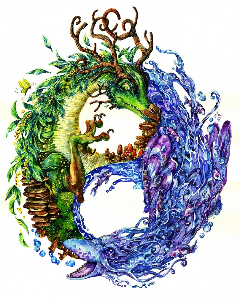 Original Painting - Yin & Yang Dragons