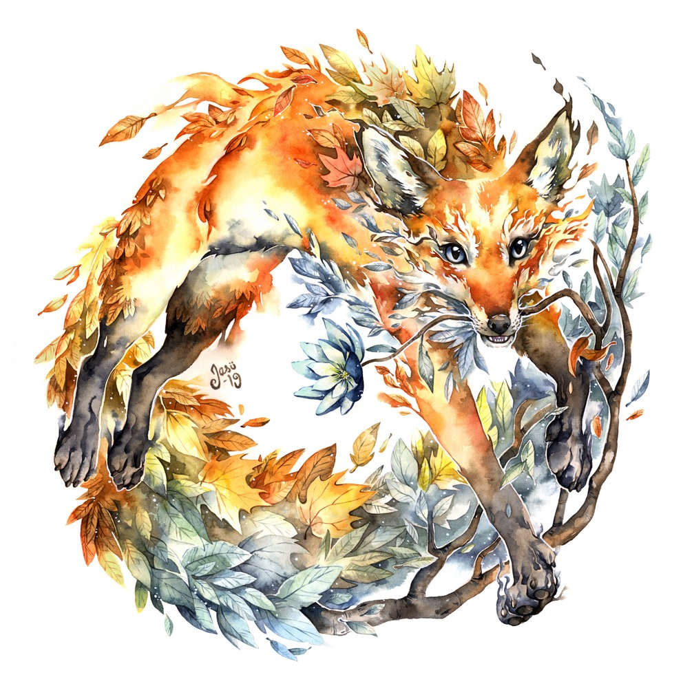 Original Painting - Foliage Fox