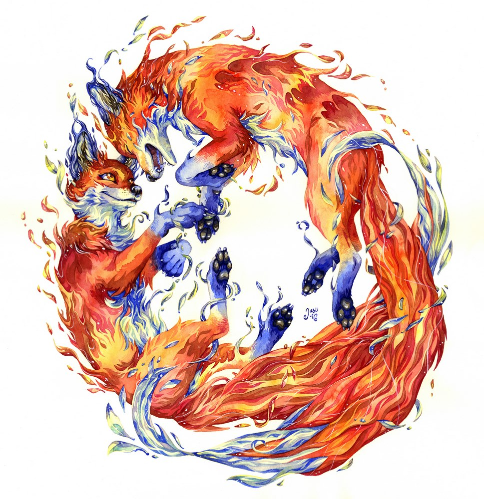 Original Painting and Print - Firefoxes