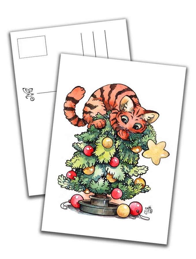 Card - Cat on Christmas Tree