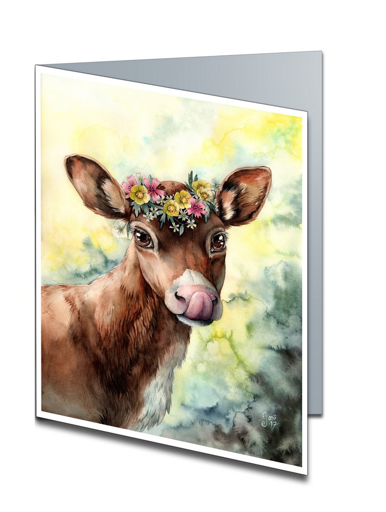 Card - Calf with a Flower Crown