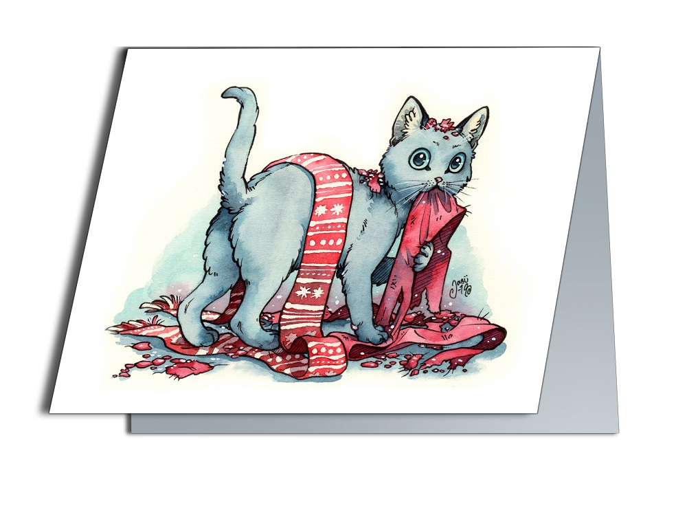Card - Scarf Destroyed by a Cat