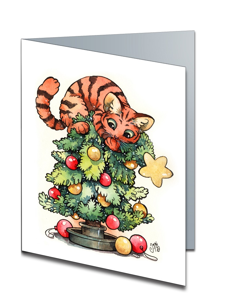 Card - Cat on Christmas Tree