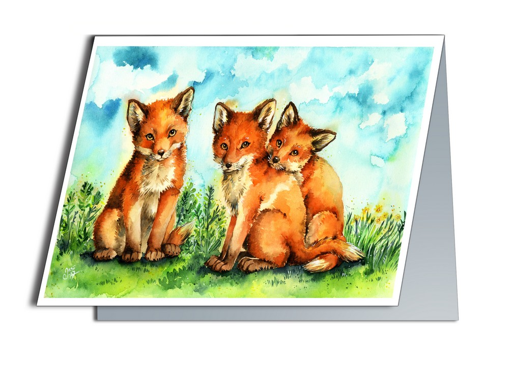 Card - Fox Pups