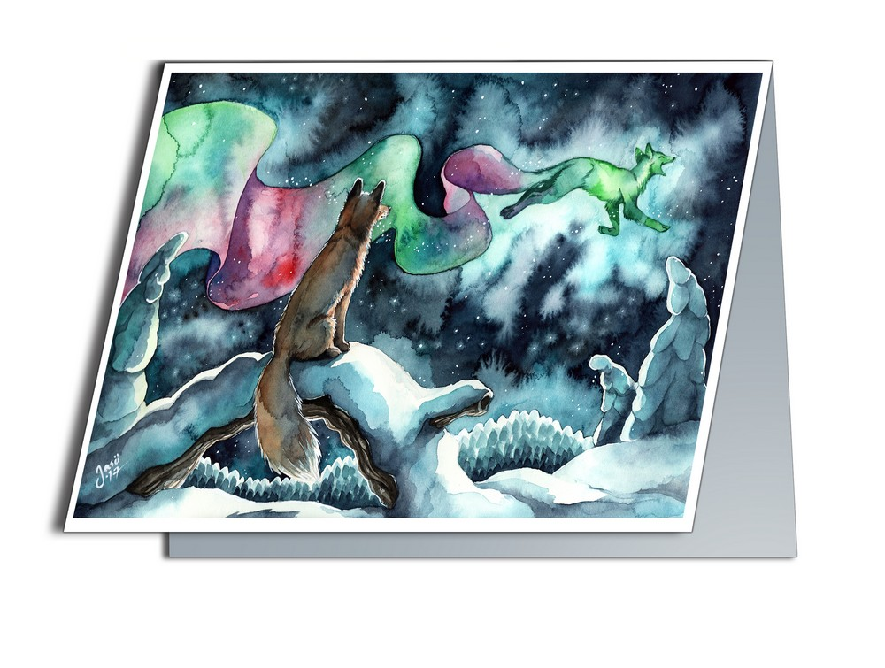Card - Fox and Northern Lights
