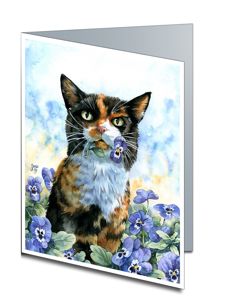 Card - Cat with Pansies