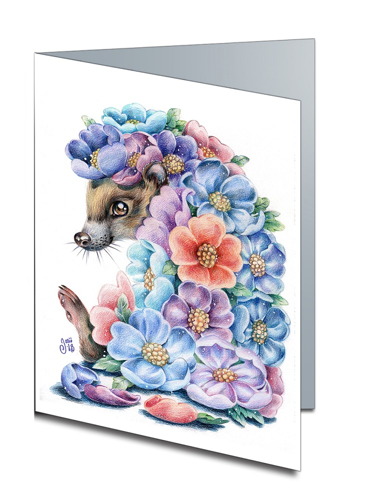Card - Flower-Hedgehog