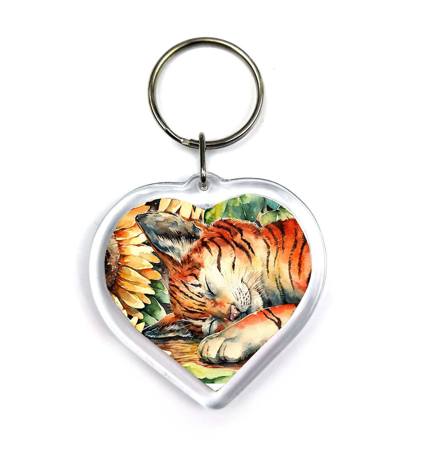 Keychain - Cat with Sunflowers