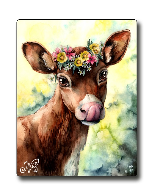 Magnet - Calf with a Flower Crown