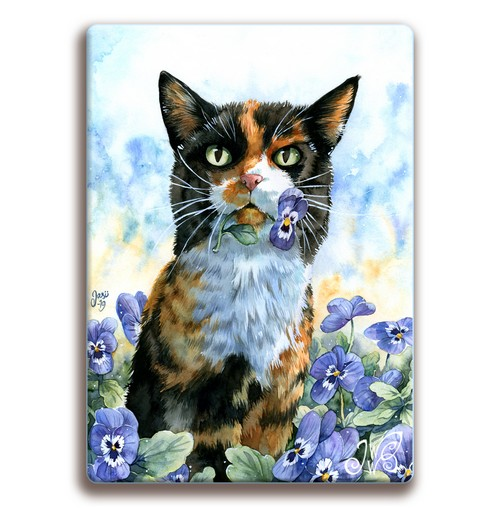 Magnet - Cat with Pansies