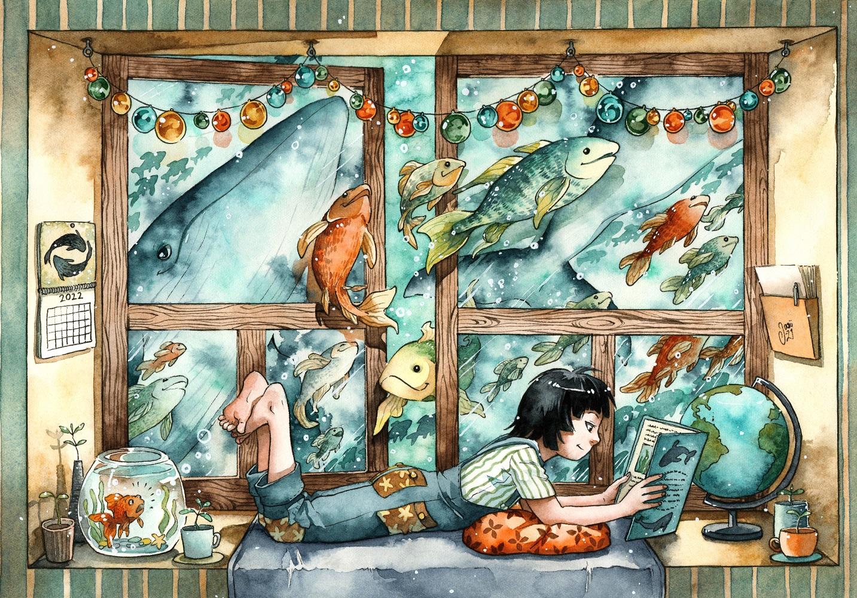 Original Painting - Ocean Behind the Window
